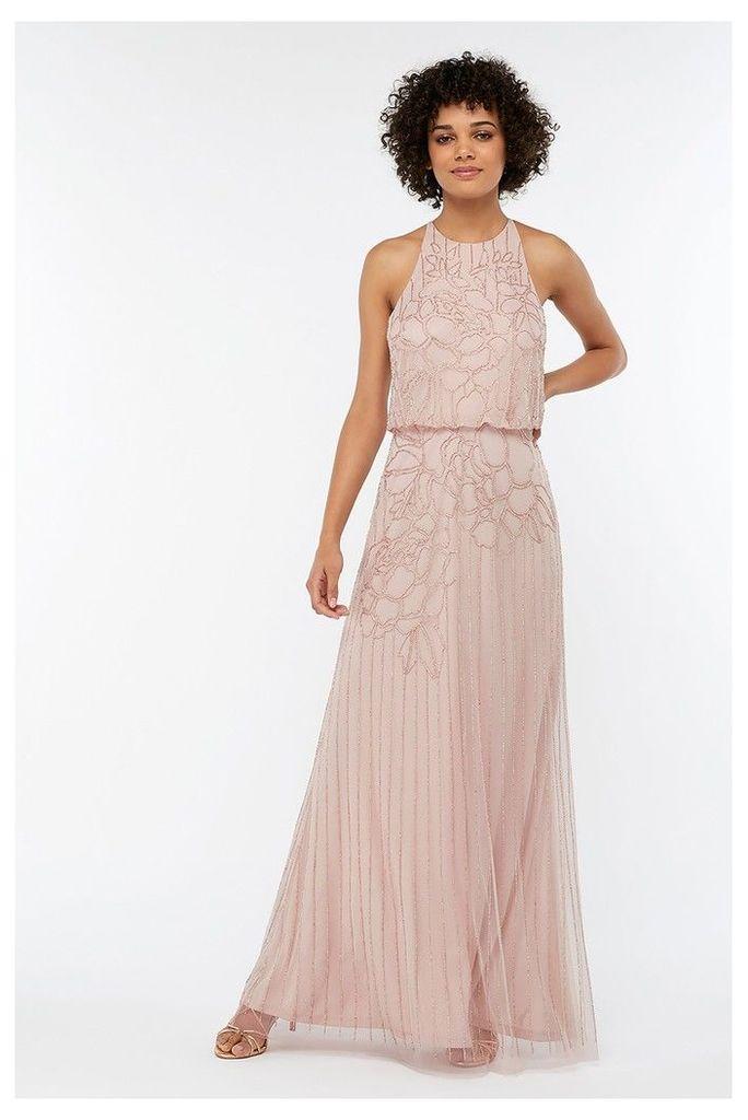 Womens Monsoon Ladies Pink Bianca Embellished Maxi Dress -  Pink