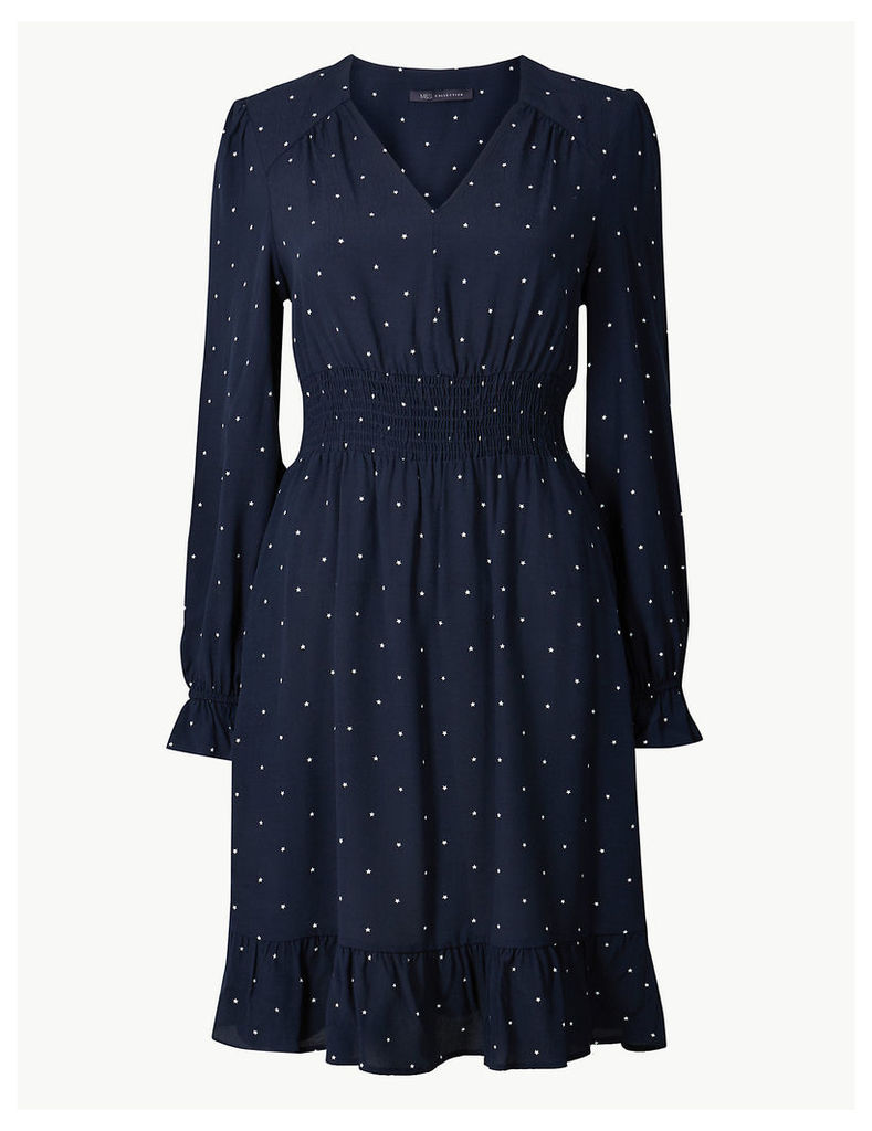 M&S Collection Star Print Waisted Dress