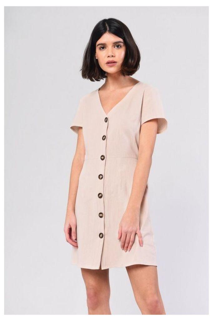 Womens **Button Through Dress By Glamorous - Stone, Stone