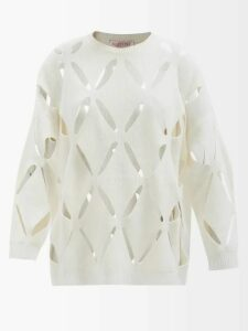 Thom Browne - Pleated Wool Twill Midi Skirt - Womens - Navy Multi