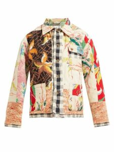 Bode - Patchwork Single Breasted Cotton Jacket - Womens - White Multi