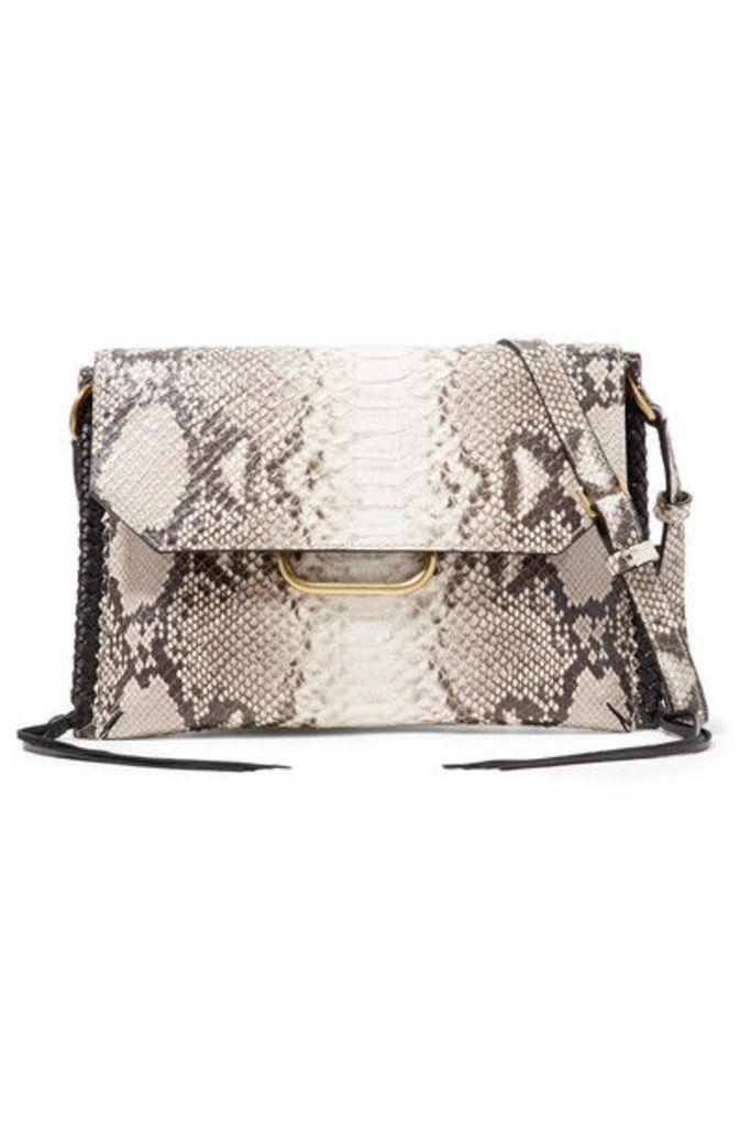 Isabel Marant - Sinky Whipstitched Snake-effect Leather Shoulder Bag - Gray