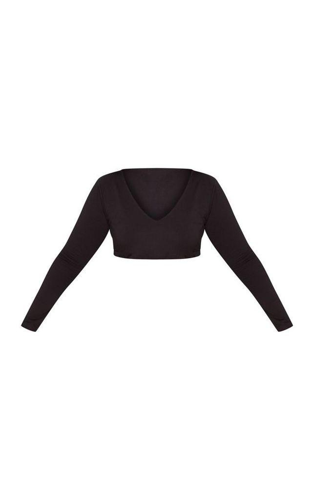 Plus Black Long Sleeve Plunge Crop Top, Black