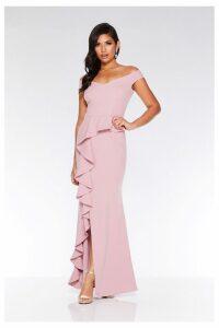 Womens Quiz Bardot Peplum Frill Split Maxi Dress -  Pink