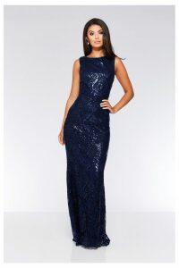 Womens Quiz Sequin Baroque Pattern Sleeveless Maxi Dress -  Blue