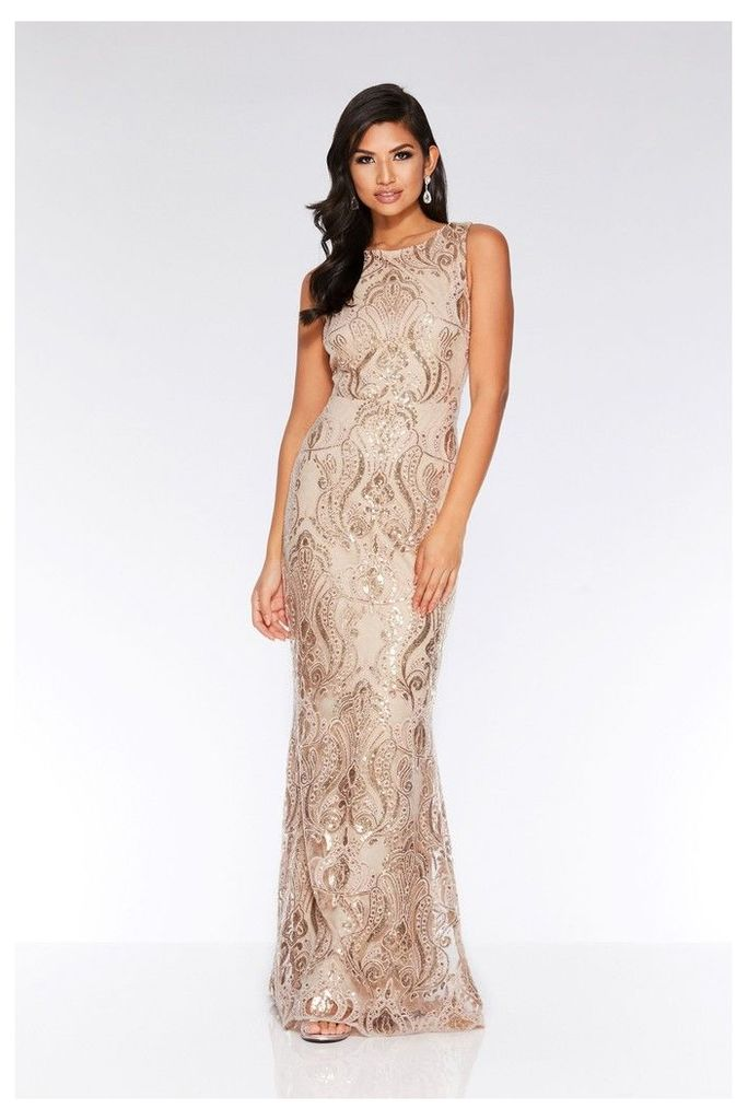 Womens Quiz Sequin Baroque Pattern Sleeveless Maxi Dress -  Cream