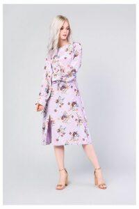Womens Glamorous Floral Satin Dress -  Purple