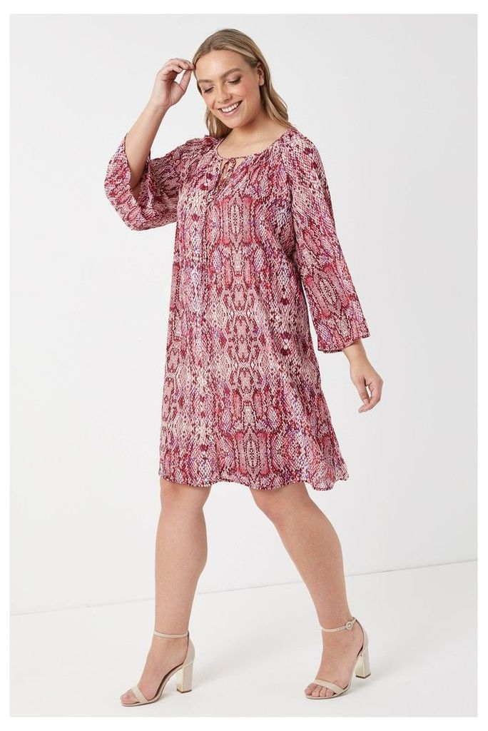 Womens Glamorous Curve Snake Print Smock Dress -  Pink