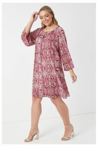 Womens Glamorous Curve Snake Print Smock Dress -  Pink