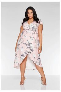 Womens Quiz Curve Floral Print Cap Sleeve Wrap Midi Dress -  Pink