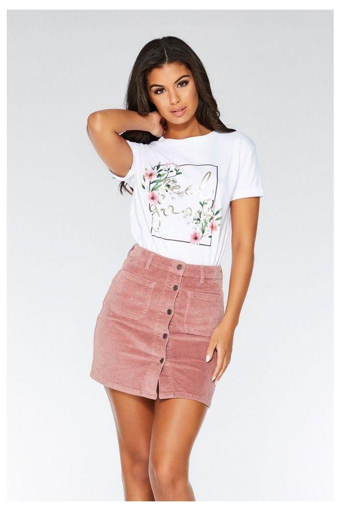 Womens Quiz Corduroy Button Down Skirt -  Pink