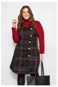 Womens Yours Check Pinafore -  Black