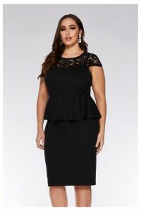 Womens Quiz Curve Lace Cap Sleeve Peplum Midi Dress -  Black