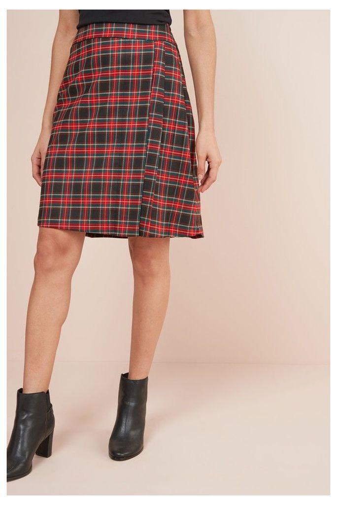 Womens Next Red Check Kilt Skirt -  Red