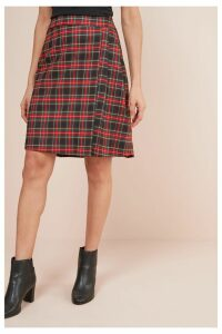 Womens Next Red Check Kilt Skirt -  Red