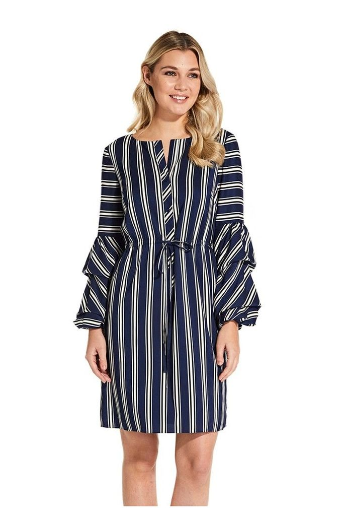 Womens Adrianna Papell Blue Multi Melody Stripe Printed Dress -  Blue