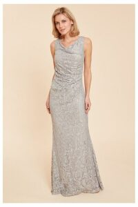 Womens Gina Bacconi Grey Harlene Sequin Lace Maxi Dress -  Grey