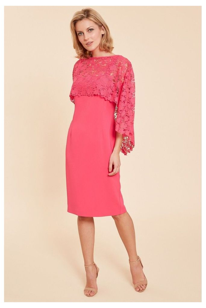 Womens Gina Bacconi Pink Catriona Crepe Dress With Lace Overcape -  Grey