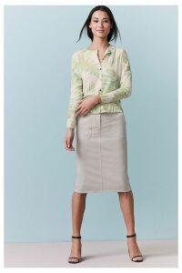 Womens Pure Collection Chino Pencil Skirt -  Natural