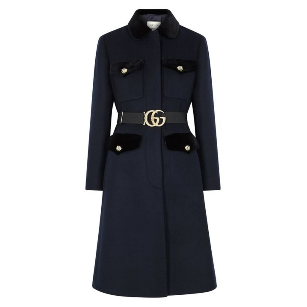 Gucci Navy Belted Wool-blend Coat