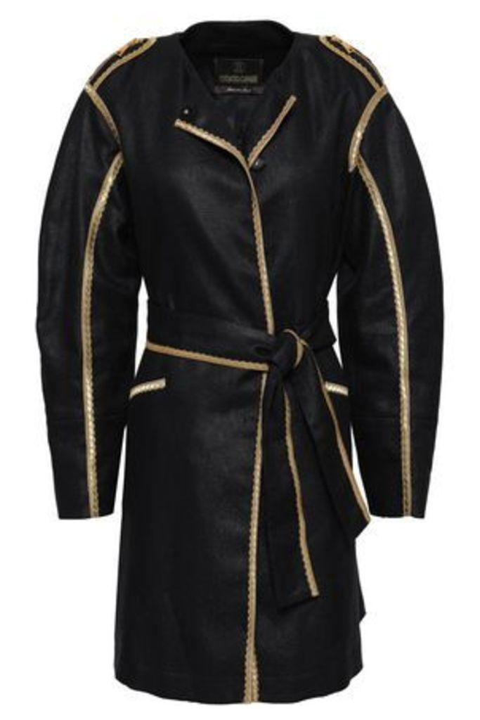 Roberto Cavalli Woman Linen And Cotton-blend Jacket Black Size 40