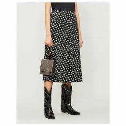 High-rise floral-print crepe wrap skirt