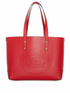 Burberry Small Embossed Crest Leather Tote - Red