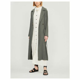 Belted long linen-blend coat