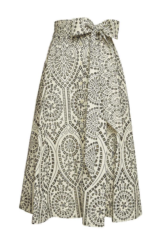 Lisa Marie Fernandez Beach Embroidered Cotton Skirt