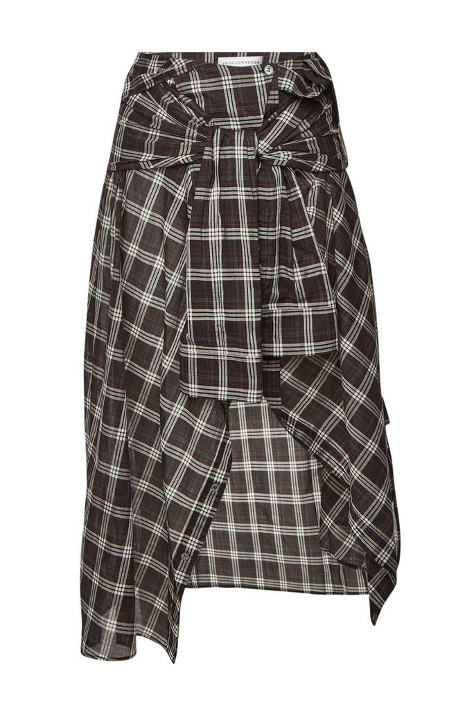 Faith Connexion Checked Cotton Skirt with Shirting Detail