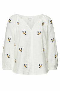 Velvet Embroidered Cotton Selma Blouse