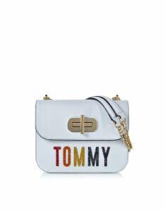Tommy Hilfiger Designer Handbags, Light Blue Turn-Lock Crossover Bag w/Crystals
