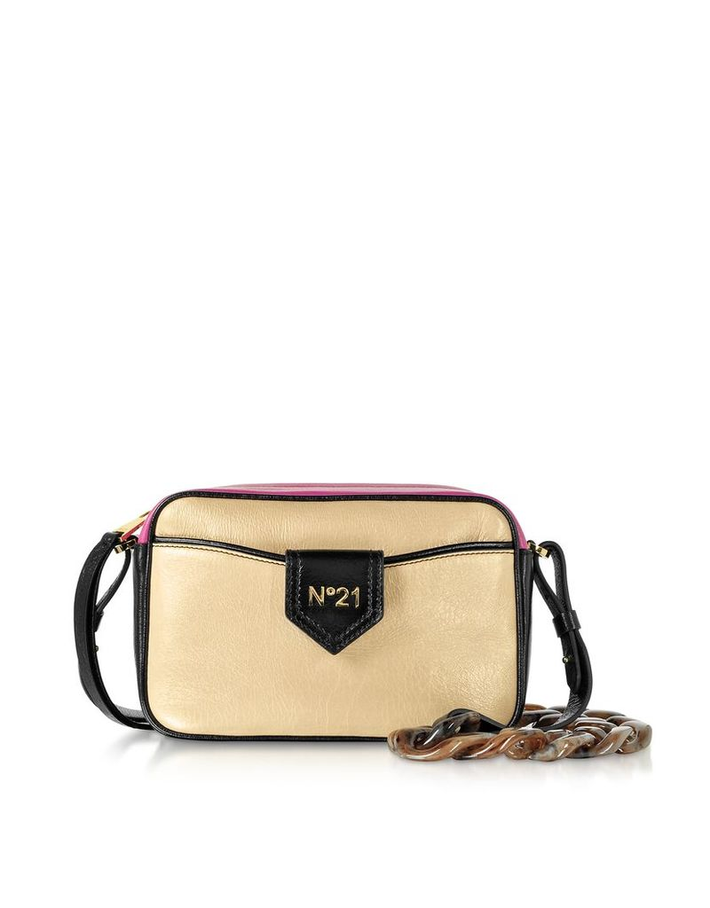 N°21 Designer Handbags, Phard, Black and Fuchsia Leather Camera Bag