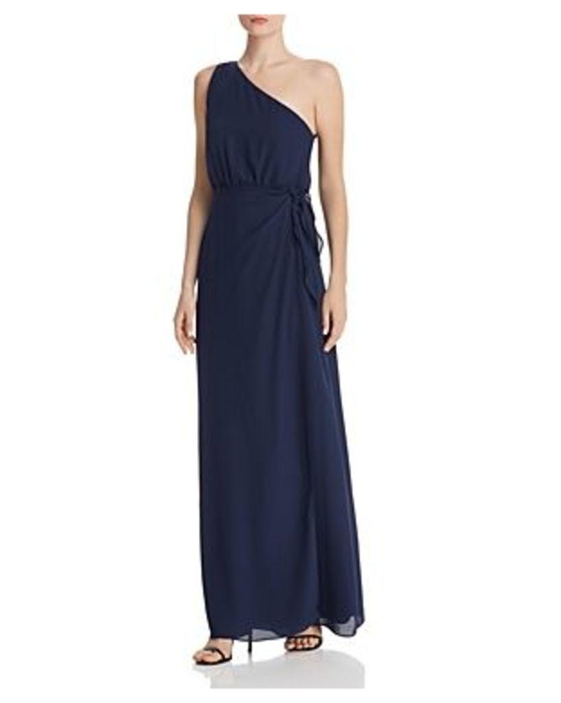 Wayf Penny One-Shoulder Wrap Dress