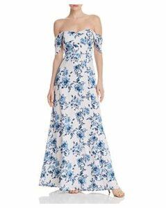 Wayf Rachel Floral Cold-Shoulder Dress