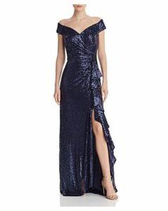 Tadashi Shoji Petites Off-the-Shoulder Sequined Gown