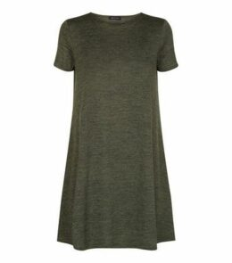 Khaki Cap Sleeve Swing Dress New Look