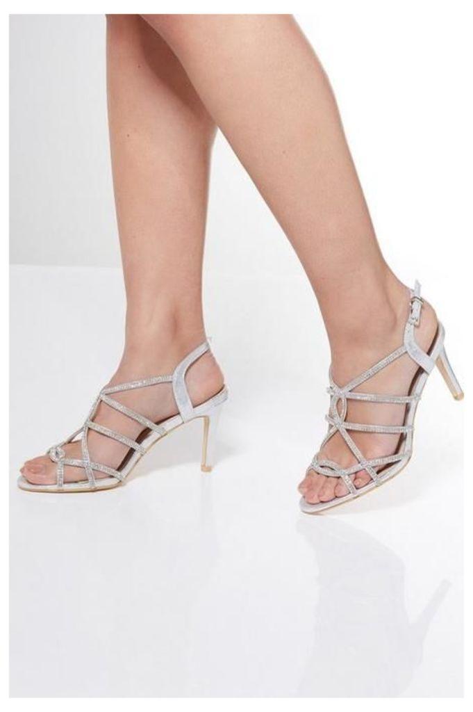 Quiz Silver Shimmer Diamante Sandals