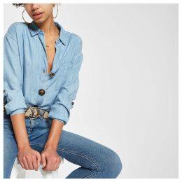 Womens Blue button down front denim shirt