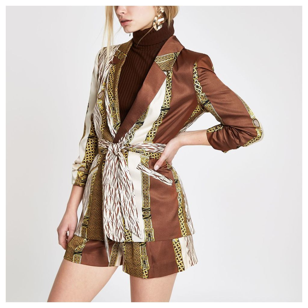 Womens Brown mixed print belted ruched blazer