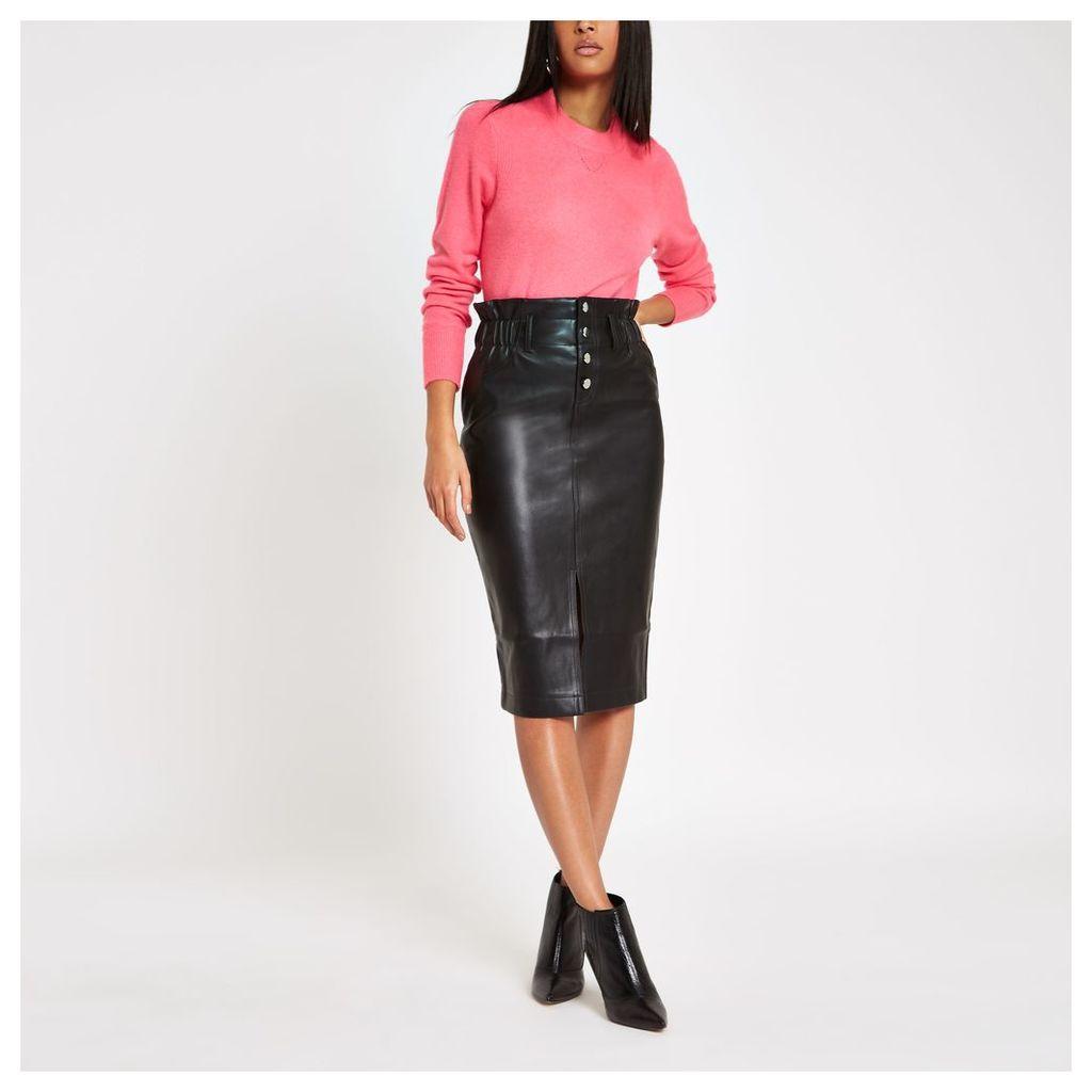 Womens Black button front high waist pencil skirt