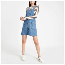 Womens Mid Blue denim pinafore dungaree dress
