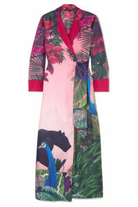 F.R.S For Restless Sleepers - Alectrona Printed Silk-satin Twill Wrap Maxi Dress - Pink