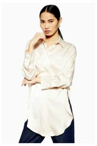 Womens **Side Split Silk Shirt By Boutique - Cream, Cream