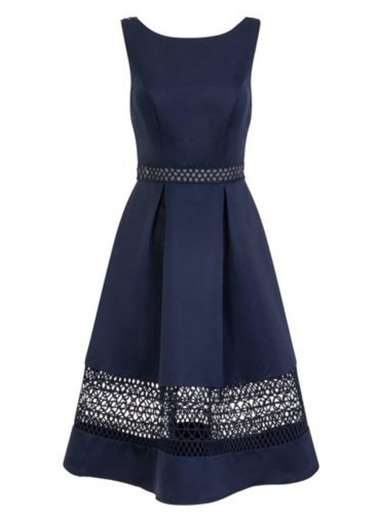 Womens *Chi Chi London Navy Crochet Detail Midi Skater Dress- Navy, Navy