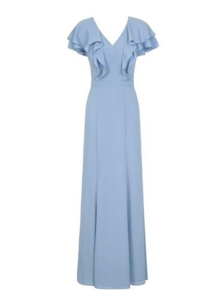 Womens *Chi Chi London Blue Ruffle Sleeve Maxi Dress- Blue, Blue