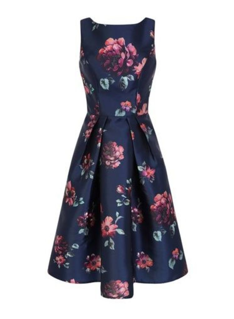 Womens *Chi Chi London Navy Floral Printed Midi Dress- Blue, Blue