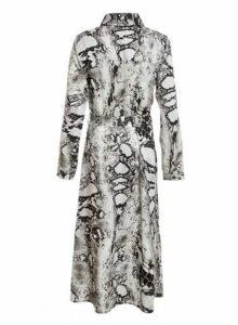 Womens *Quiz Grey Snake Print Maxi Shirt Dress- Grey, Grey