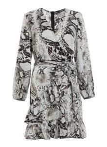Womens *Quiz Grey Snake Print Wrap Dress- Grey, Grey