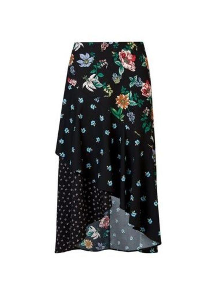 Womens **Black Floral Print Mix Asymmetric Skirt- Black, Black